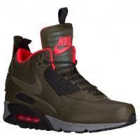 Nike Air Max 90 Sneakerboot - Men's - Dark Loden/Bright Crimson/Dark Grey/Black