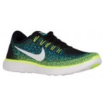 Nike Performance Free RN Distance - Black/White/Blue Lagoon/Volt - Men's Running Shoe