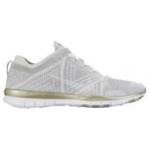 Nike Free TR 5 Flyknit - Pure Platinum/White/Metallic Gold - Women's Running Shoe