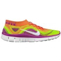 Nike Performance Free FlyKnit+ - Ladies Running Shoe - Atomic Pink/White/Electric Green/Club Pink