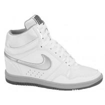 Nike Force Sky High Wedge - White/Metallic Silver/Dark Grey - Ladies Sneaker
