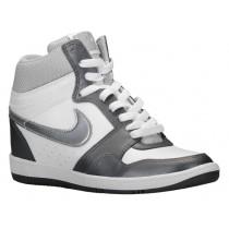 Nike Force Sky High Wedge - White/Metallic Dark Grey/White/Metallic Silver - Ladies Shoes