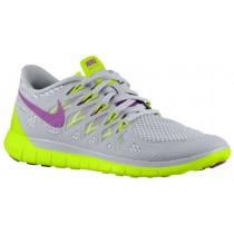 Nike Performance Free 5.0 - Women's Lightweight Running Shoes - Base Grey/Volt/Light Base Grey/Bright Grape