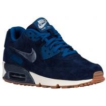 Nike Sportswear Air Max 90 Premium Suede - Midnight Navy/Metallic Blue/Silver/Ghost Green - Ladies Running Shoes