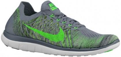Nike Free 4.0 Flyknit - Cool Grey/Black/String/Green Strike - Men's Running Shoe