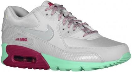Nike Air Max 90 - Ladies Trainers - Dusty Grey/Green Glow/Raspberry Red