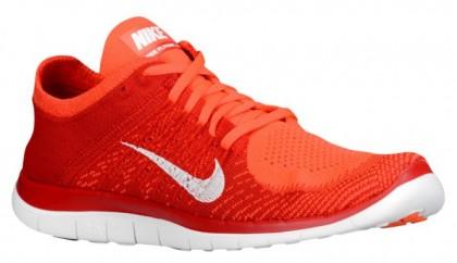 Nike Performance Free 4.0 Flyknit - Men's Lightweight Running Shoes - Bright Crimson/University Red/Total Orange/White