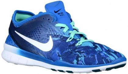 Nike Performance Free 5.0 TR Fit 5 Marble Print - Women's Lightweight Running Shoes - Soar/Deep Royal Blue/Green Glow