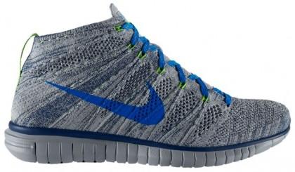 Nike Free Flyknit Chukka - Wolf Grey/Brave Blue/Electric Green/Photo Blue - Men's Running Shoe