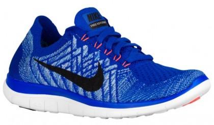 Nike Performance Free 4.0 Flyknit - Women's Lightweight Running Shoes - Racer Blue/University Blue/Hyper Orange/Black
