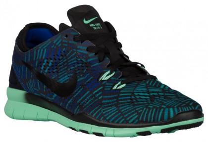 Nike Performance Free 5.0 TR Fit 5 Print - Ladies Lightweight Running Shoes - Black/Green Glow/Racer Blue
